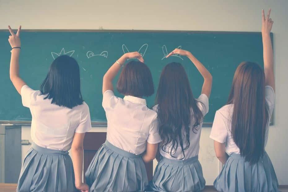 Girls in a classroom in Korea