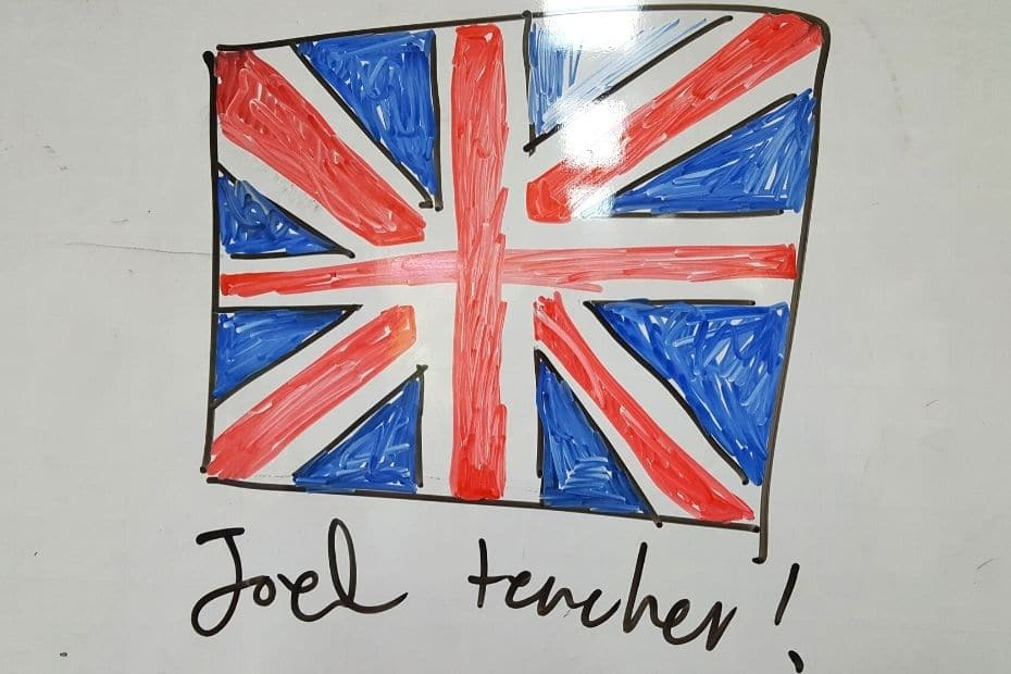 British flag with Joel Teacher - a title earned in my EPIK life
