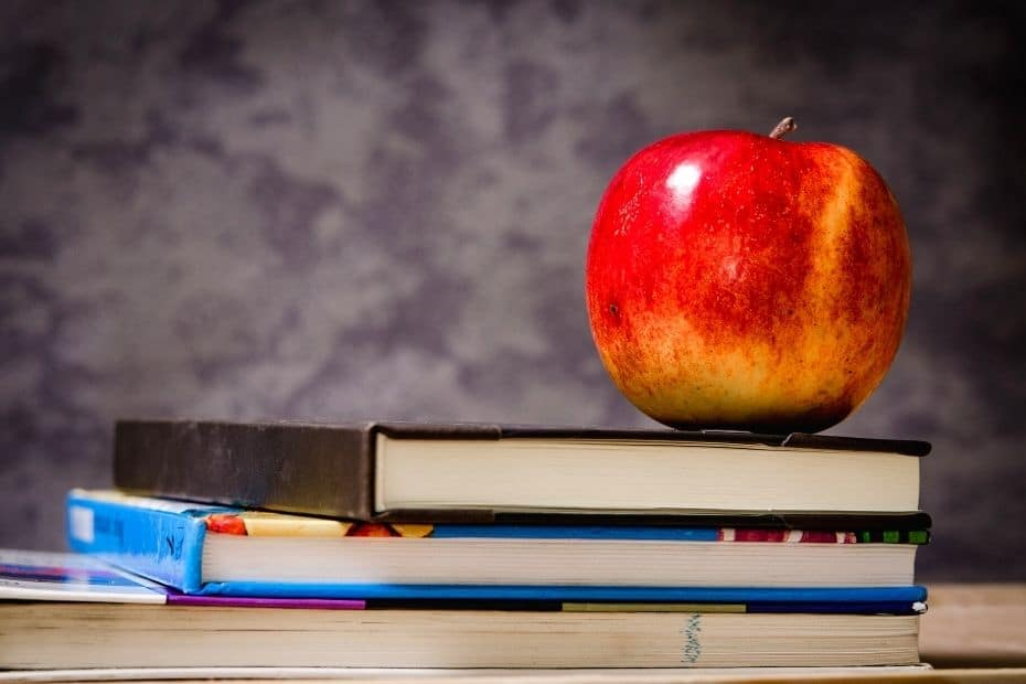 Study books and apple
