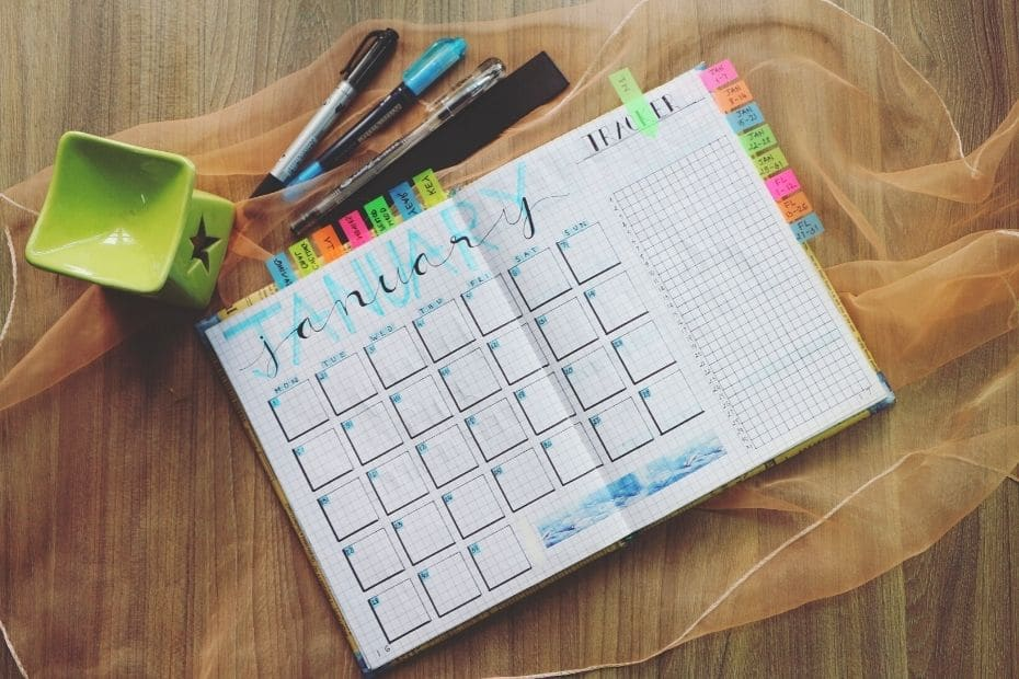 Teaching schedule diary