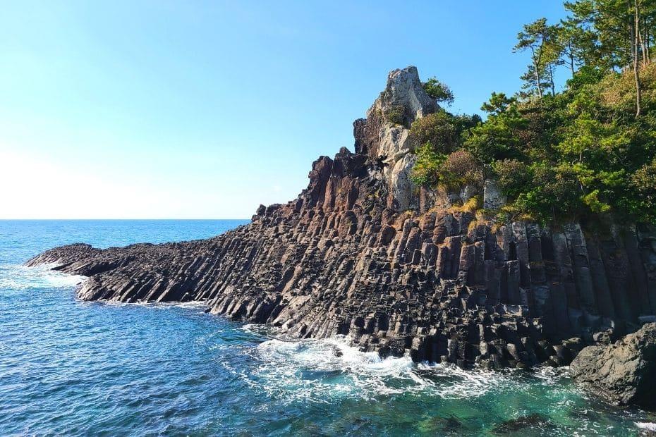 Jeju Coastline with unique rock formation