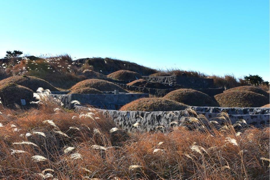 Korean graves on a hillside in Korea