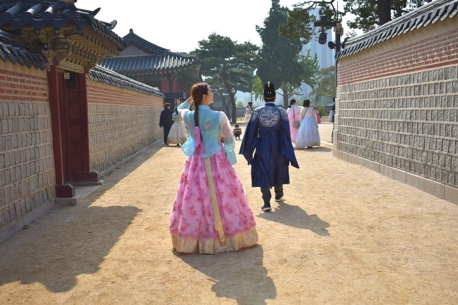 Woman wearing hanbok in Seoul, one of many unique Korean experiences for your South Korea Bucket List