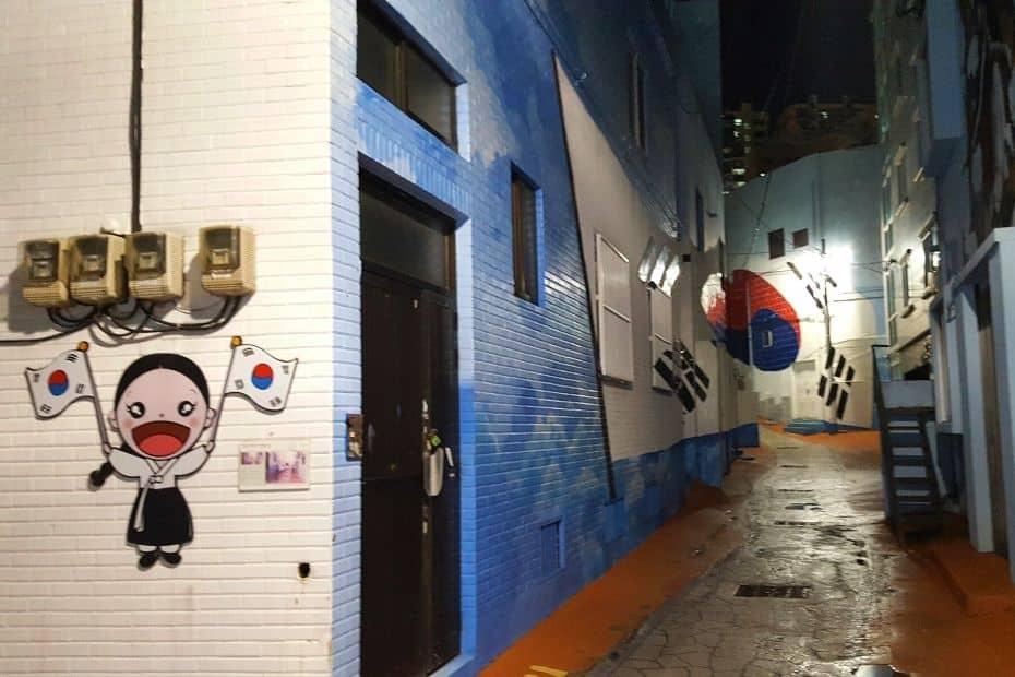 Korean street with Korean flags and murals