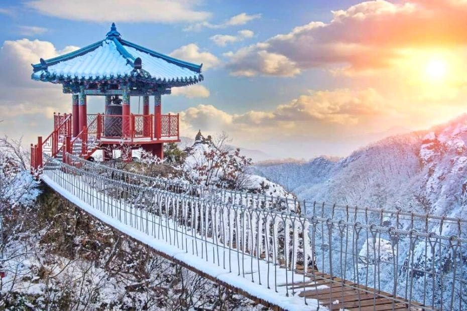 Korean pagoda covered in snow in the mountains