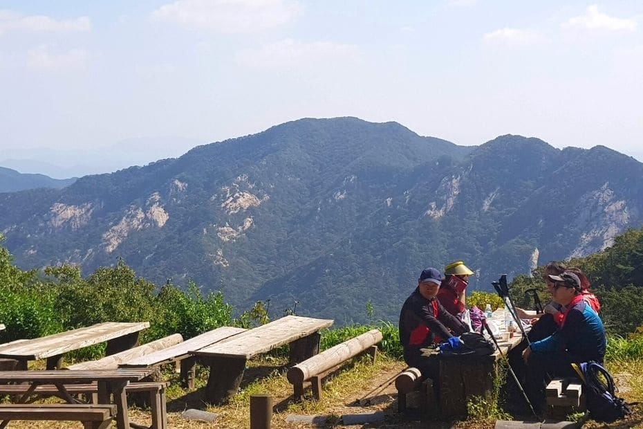 Rest station on a mountain in Korea