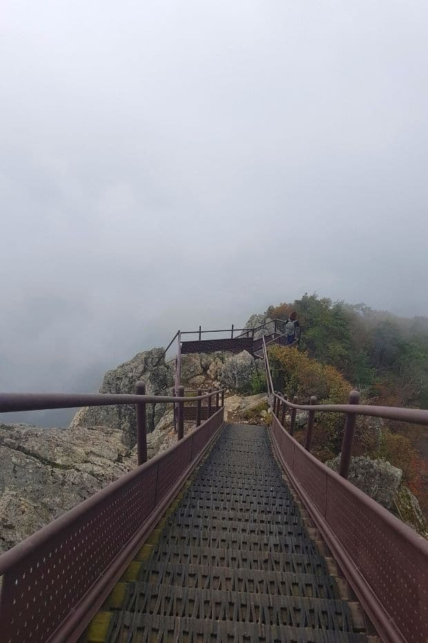 Bad weather can be a problem when hiking in Korea