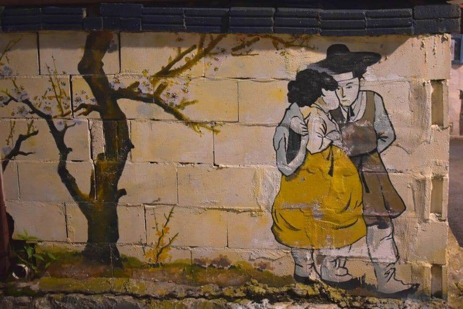 Korean culture mural on a wall in Seoul, Korea