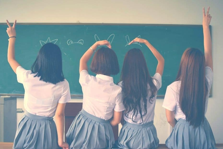Korean high school girls in a classroom