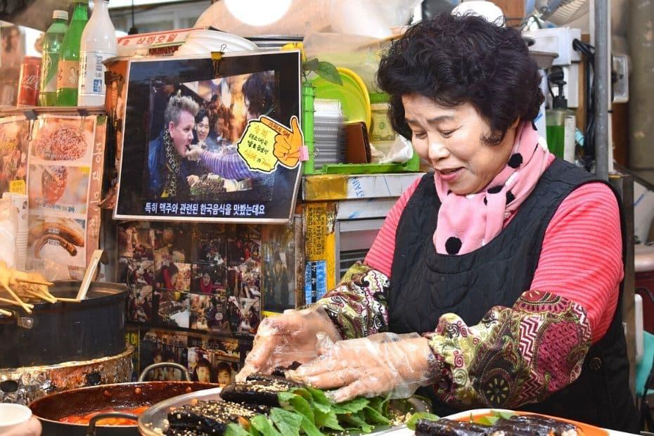 Market seller in Gwangjang Market, Seoul