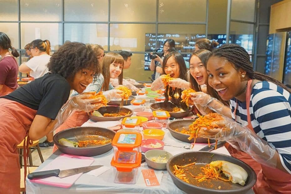 Learning to make kimchi at the Museum Kimchikan, Seoul
