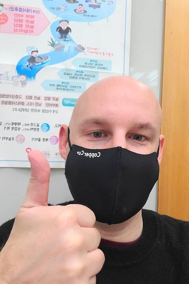 Joel getting the AstraZeneca vaccine in Korea in 2021