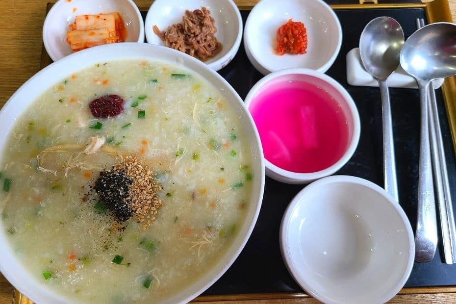 Healthy chicken porridge from Bon Juk in Korea
