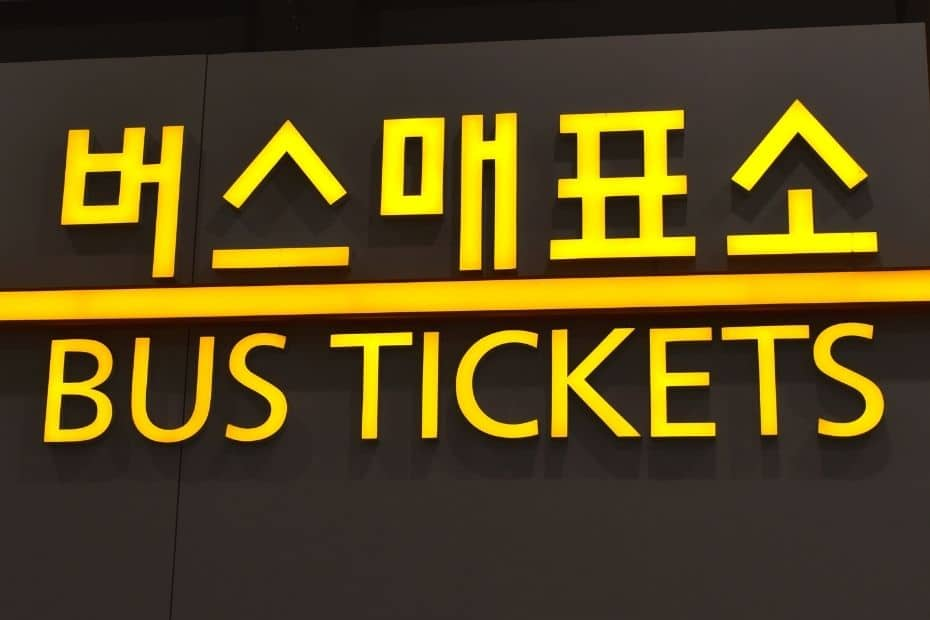 Bus ticket sign in Korean and English