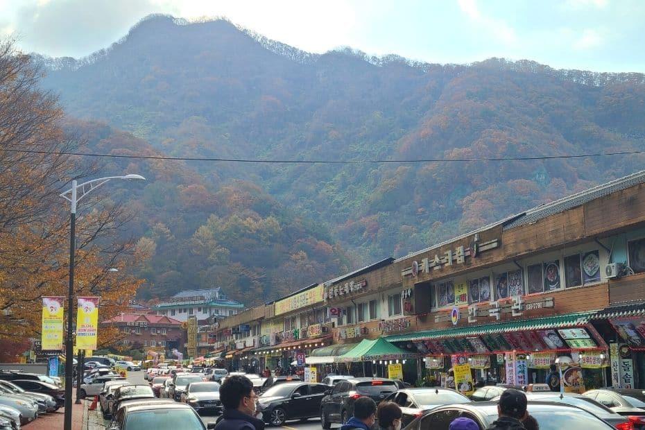 Cars parked at Naejangsan National Park entrance