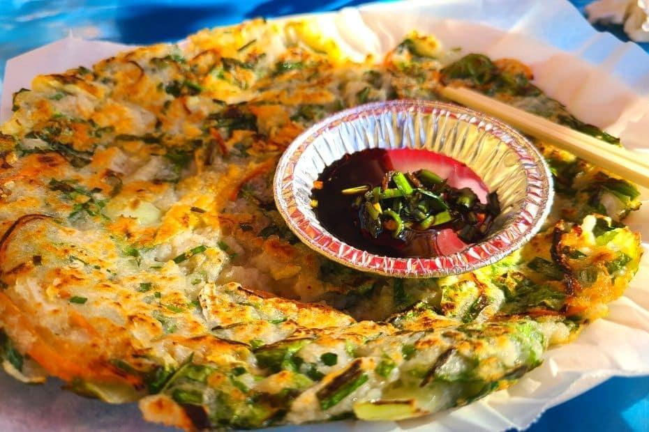 Pajeon Korean pancake with soy sauce