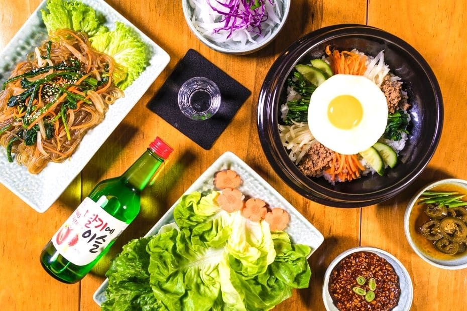 Traditional Korean dishes with soju