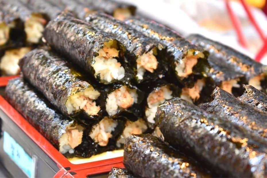 Gimbap rolls in a market in Seoul