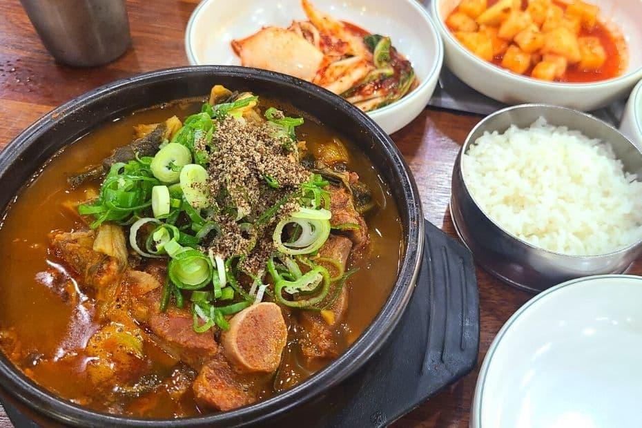 Bowl of Korean traditional hangover soup