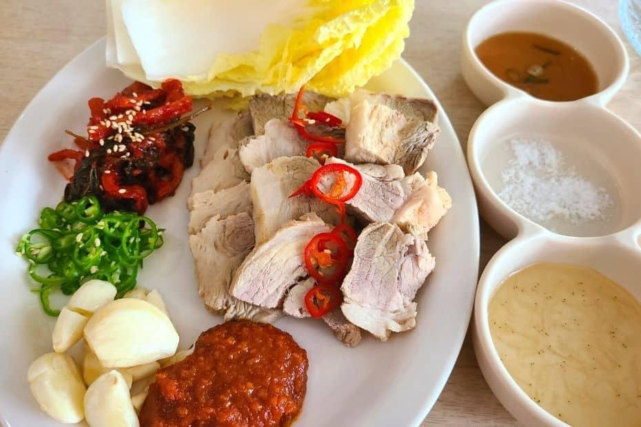 Plate of bossam pork slices
