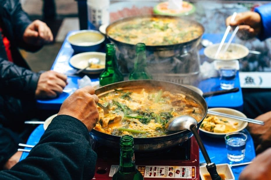 Korean people sharing a meal