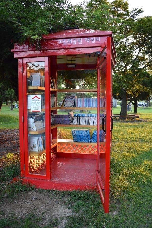 Telephone box library in Gudeurae Sculpture Park